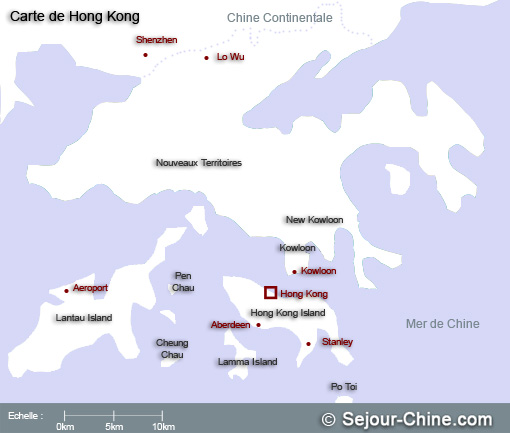 Carte - Plan de Hong Kong © Sejour-Chine.com