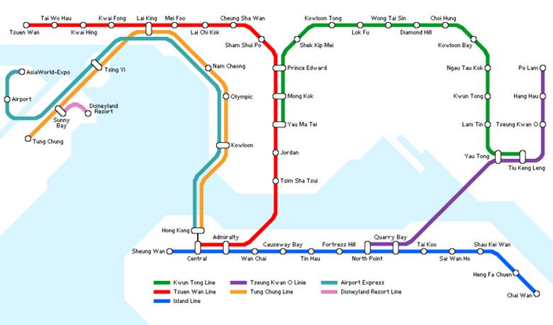 Plan du metro de Hong Kong